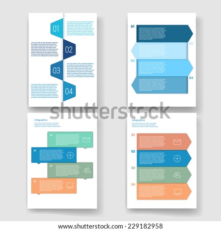Set of modern Design Minimal style infographic template layout. Infographics, numbered banner, horizontal cutout lines, graphic or website layout vector with icons.  - stock vector