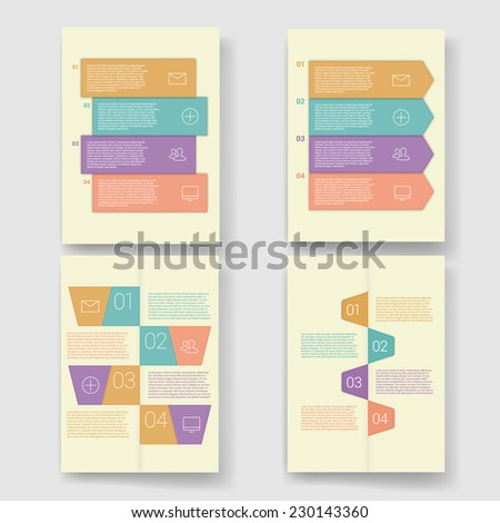 Set of modern Design Minimal style infographic template layout. Infographics, numbered banner, graphic or website layout vector with icons. Flyer, Brochure Design Templates.  - stock vector