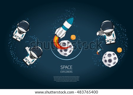 Set of Modern design vector illustrations with rocket Launch, astronaut, planet. universe exploration and new technology. Template for poster