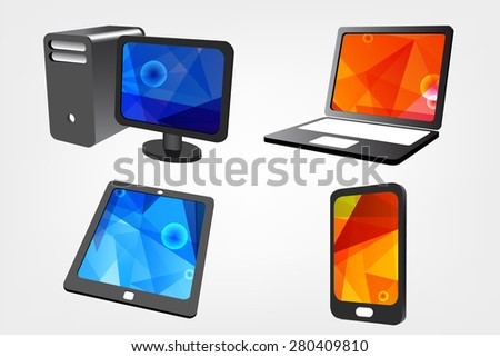 Set of Modern Digital devices,tablet computer, laptop and mobile phone  - stock vector