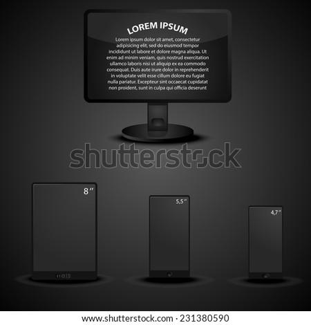 set of modern digital display units in dark style - stock vector