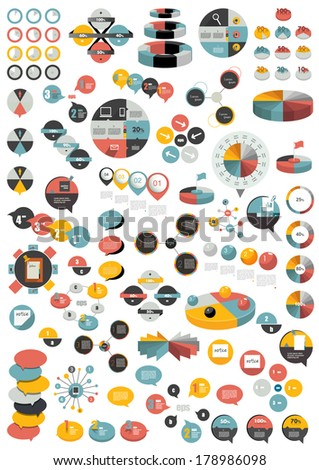 Set of modern flat circle, round info graphic schemes. Template for print or web page. - stock vector