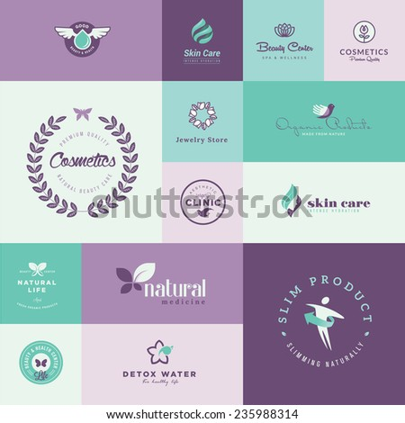 Set of modern flat design beauty and healthcare icons - stock vector