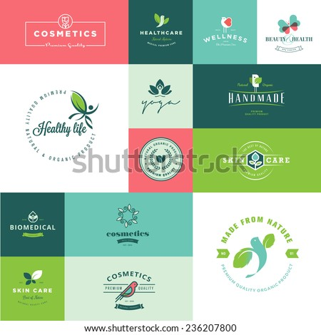 Set of modern flat design beauty and nature icons     - stock vector