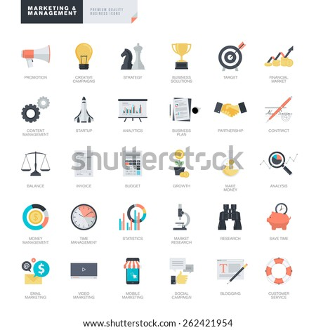 Set of modern flat design business and marketing icons for graphic and web designers    - stock vector