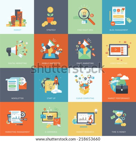 Set of modern flat design concept icons for internet marketing. Icons can be used for websites, print and presentation templates, promotional materials, infographics, web and mobile services and apps. - stock vector