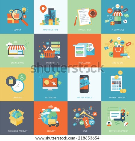 Set of modern flat design concept icons for online shopping. Icons for websites, print templates, presentation templates, promotional materials, infographics, web and mobile phone services and apps. - stock vector