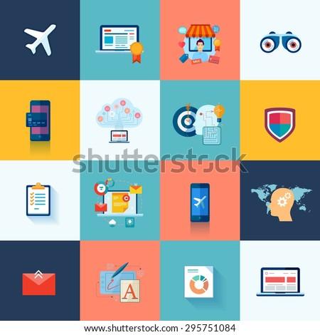 Set of modern flat design icons for application development or software app programming. Web, database, software development. Icons for website, SEO, e-commerce, online marketing, social media.  - stock vector