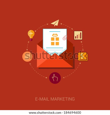 Set of modern flat design icons for e-mail marketing and news letter advertising. Marketing message with idea, at, address, wallet, analytic, point, click and tap concepts vector illustration. - stock vector