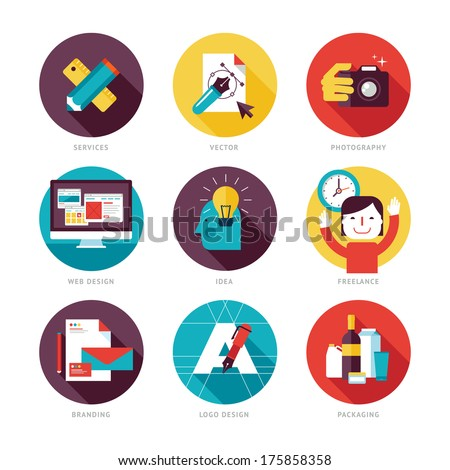 Set of modern flat design icons on design development theme. Icons for graphic design, web design, branding, packaging design, freelance designers, photography and creative design process - stock vector
