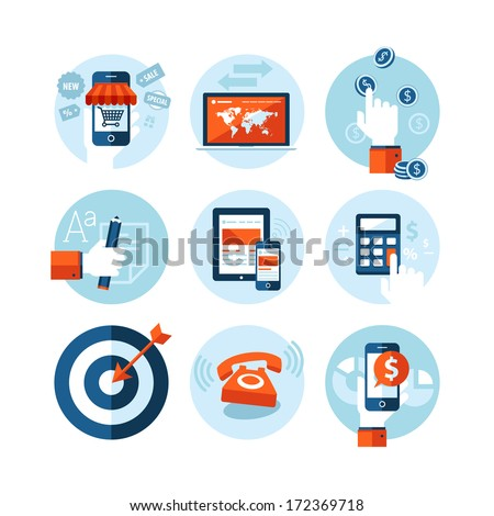 Set of modern flat design icons on e-commerce theme. Icons for online shopping, internet marketing, refferal marketing, computer and mobile phone apps, finance, planning, strategy and advertising. - stock vector