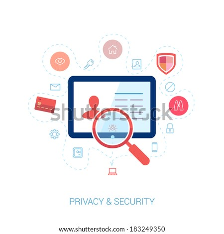 Set of modern flat design icons on the topic of online security, privacy protection and data safety. Spying computer bug under investigation lens on the user personal profile vector illustration. - stock vector