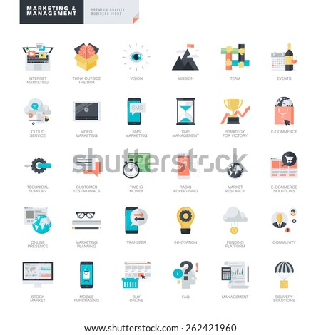 Set of modern flat design marketing and management icons for graphic and web designers    - stock vector