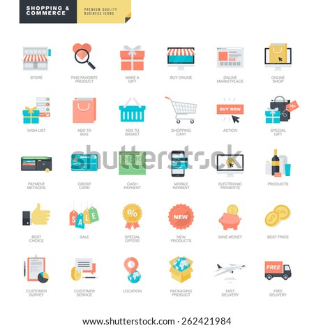 Set of modern flat design online shopping and e-commerce icons for graphic and web designers   - stock vector