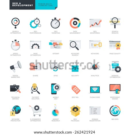 Set of modern flat design SEO and website development icons for graphic and web designers     - stock vector