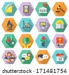 Set of modern flat educational icons of different subjects and concepts in colored hexagons with long shadows - stock vector