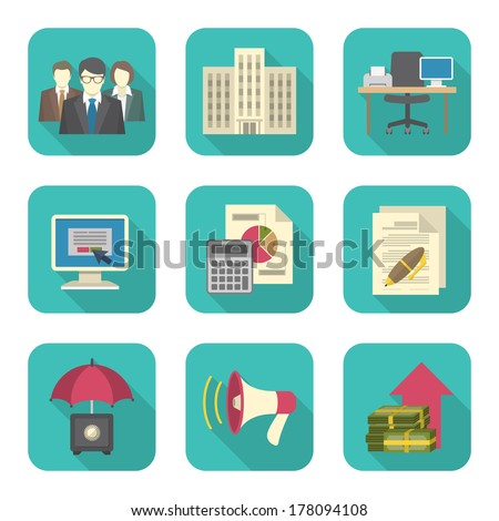 Set of modern flat icons suitable for theme of business costs - stock vector