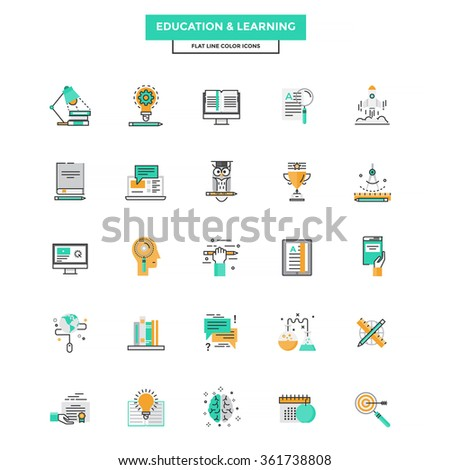 Set of Modern Flat Line icon Concept of Education, Leaning, Online Education, Video Tutorial, E-Learning and Thinking use in Web Project. Vector Illustration - stock vector