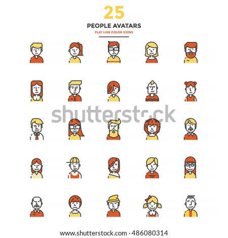 Set of Modern Flat Line icon Concept of People Avatars use in Web Project and Applications. Vector Illustration
