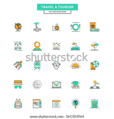 Set of Modern Flat Line icon Concept of Travel and Tourism use in Web Project and Applications. Vector Illustration - stock vector