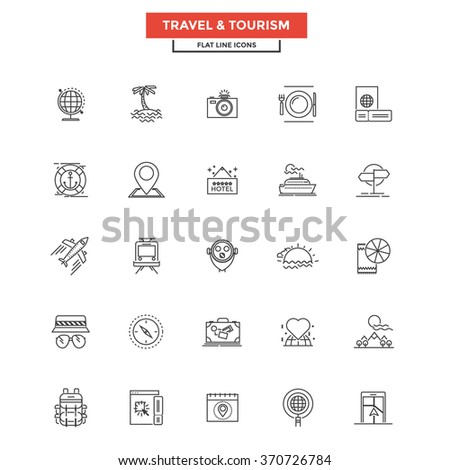 Set of Modern Flat Line icon Concept of Travel and Tourism use in Web Project and Applications. Simple mono linear pictogram pack. Vector Illustration - stock vector