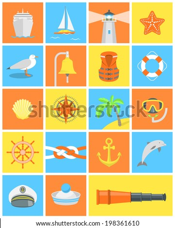 Set of modern flat square icons for nautical and sea traveling themes