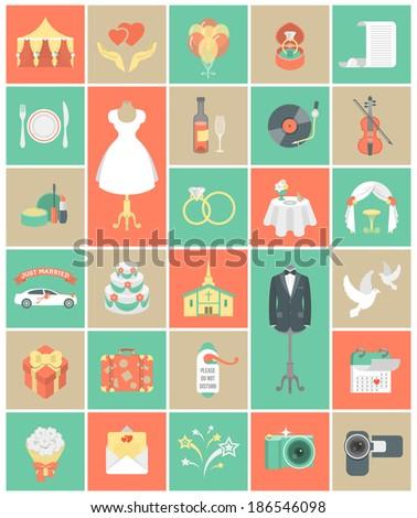 Set of modern flat square wedding symbols - stock vector