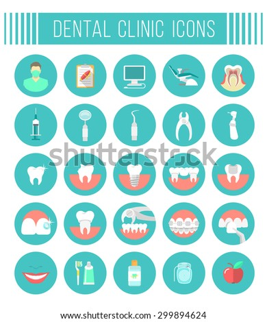 Set of modern flat vector conceptual icons of dental clinic services, stomatology, dentistry, orthodontics, oral health care and hygiene, tooth restoration, dental instruments and tools - stock vector