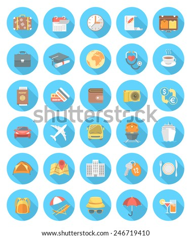 Set of modern flat vector round traveling icons with long shadows. Collection of symbols and accessories for business, education and family traveling. Different types of transportation - stock vector