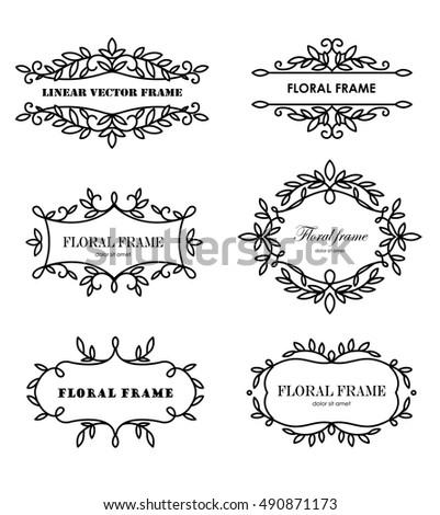 Set modern floral frames design template stock vector 490871173 design template for banner card invitation label stopboris Images