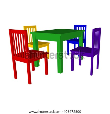 Set Of Modern Furniture Of Colored Chairs And Table For Home, Office And  Cottage.