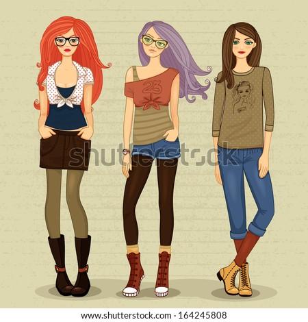Set of modern girls vector illustration isolated - stock vector