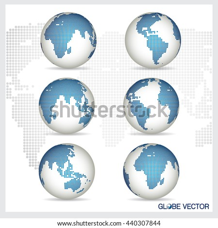Set of modern Globe, vector illustration.