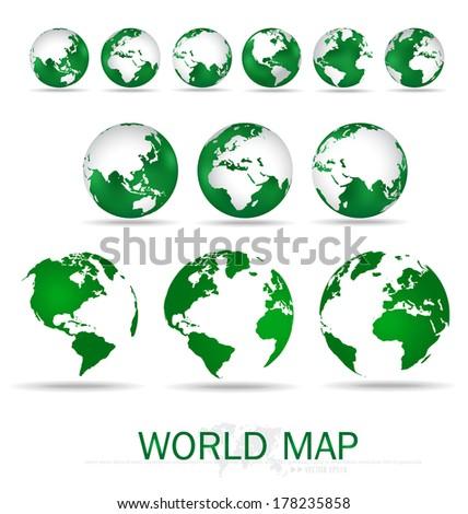 Set of modern green globes. Vector Illustration. - stock vector