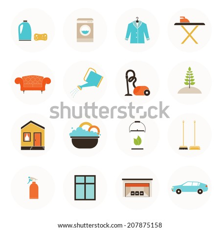 Set of modern housekeeping icons, including vacuum cleaning, carpet clean, window, garage, car, furniture, ironing, dust removal, plant care, dish wash. Perfect house care symbols. - stock vector