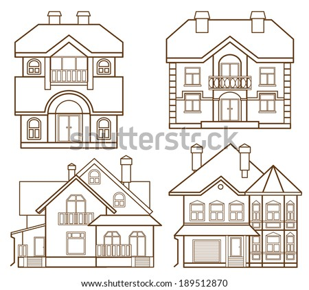 set of modern houses (front view) - stock vector
