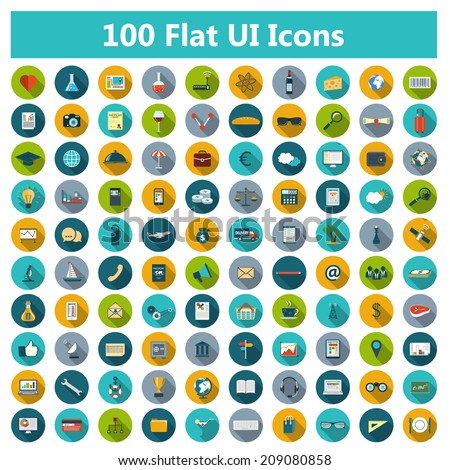 Set of modern icons in flat design with long shadows and trendy colors for web, banners, covers, corporate brochures, logo, mobile applications, business, social networks. Vector eps10 illustration - stock vector