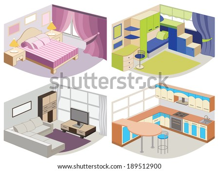 set of modern interiors (vector illustration) - stock vector