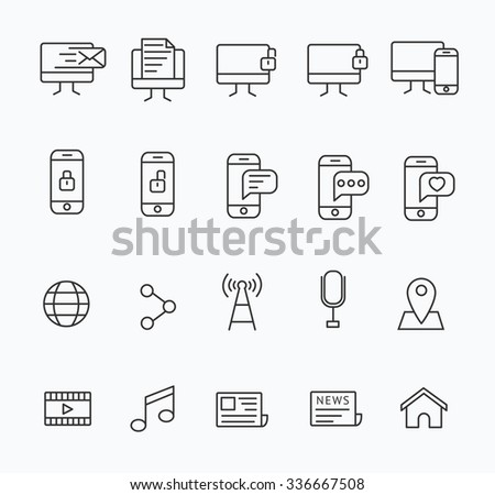 Set of Modern Line Communication and Technology icon Design , Modern Line icon , Design for Designer and Developer , Good to use for Web Project and App , Element , Vector Design illustration - stock vector