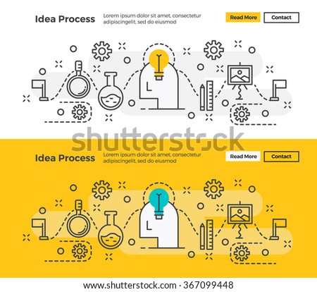 Set of Modern line design concept of Idea Process and Creativity. Flat line design for Website Element ,Web Template , Web Banner and promotional materials. - stock vector