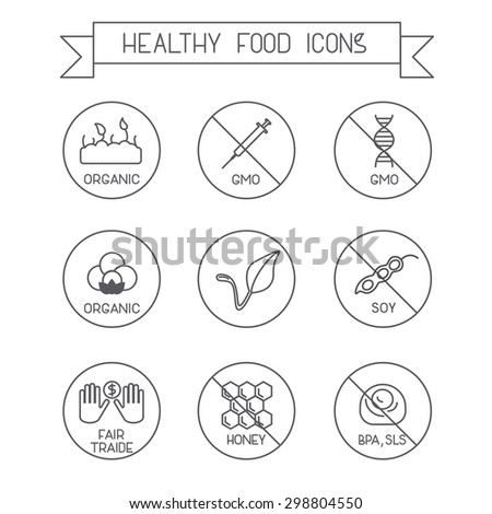 Set of modern line design icons. Use it for marking packs of healthy food free of gluten, sugar, gmo, milk, trans fat,eggs,nuts,soy, honey, bpa, sls. Vegan, fair traide, organic marking. - stock vector