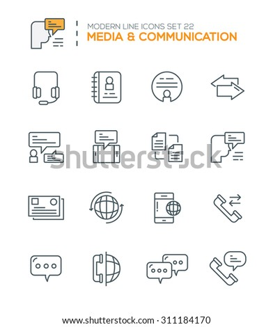 Set of Modern Line icons of Media & Communication icons  good choice to use in web projects , Applications and Other , Vector Design illustration. - stock vector