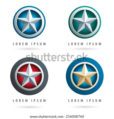Set of modern logos with star shape and 3d effect - stock vector