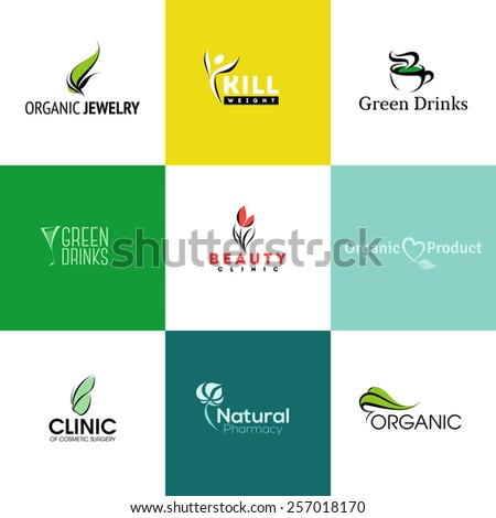 Set of modern natural and organic products logo templates and icons  - stock vector