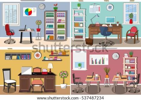 Modern classroom vector : Modern living room interior design cozy stock vector 559200685