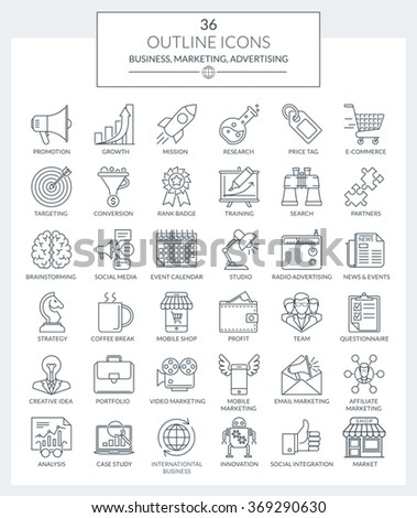 Set of modern Outline icons for business, marketing, advertising, management, market research, e-commerce, digital marketing, seo, strategy, planning, analytics, career, development, consulting. - stock vector