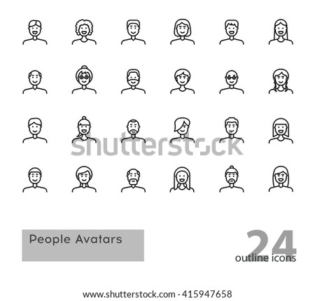 Set of modern outline People Avatars. Stock vector. - stock vector