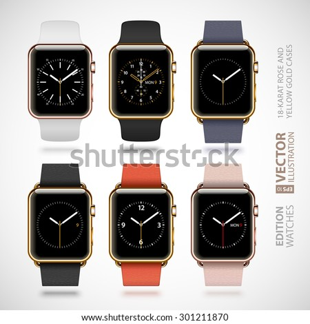 Set of 6 modern shiny golden smart watches with soft modern buckle bracelets and sport bands isolated on white background. RGB EPS 10 vector illustration - stock vector