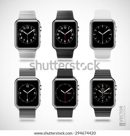 Set of 6 modern shiny smart watches with steel, leather, chain, plastic bracelets and digital clock face isolated on white background. RGB EPS 10 vector illustration - stock vector