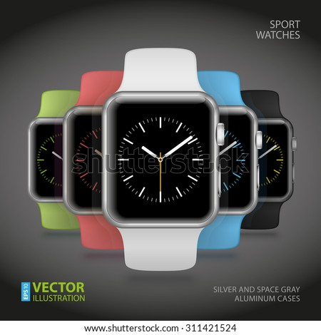 Set of 5 modern shiny sport smart watches with white, black, green, blue and pink plastic bands and digital clock faces on dark grey background. RGB EPS 10 vector illustration - stock vector